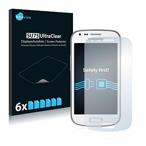 Savvies 6X Schutzfolie kompatibel mit Samsung GT-S7580 Displayschutz-Folie Ultra-transparent