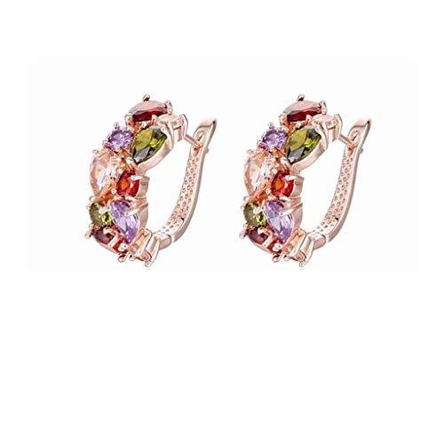 Janly Clearance Sale Pendientes para mujer, pendientes de cristal coloridos, duraderos y útiles, joyas y relojes para Navidad, día de San Valentín (dorado)