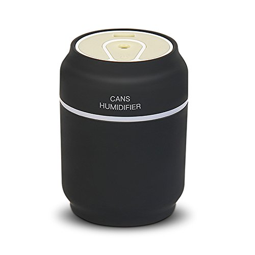 Cikuso 3 en 1 s Humidificador Ventilador de latas de Aire ultrasonico LED 7 Colores USB Difusor del Aerosol del Aceite del Aroma Spray Esencial Negro