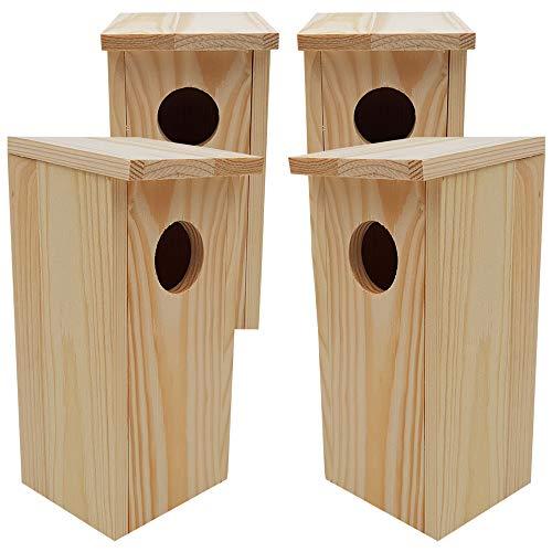 DILUMA Nistkasten Compact 4er Pack 22 x 9 x 10 cm aus FSC Holz Nisthaus perfekt für Meisen Kohlmeisen Kleiber Rotschwänzchen und weitere Vogelarten Vogelnistkasten