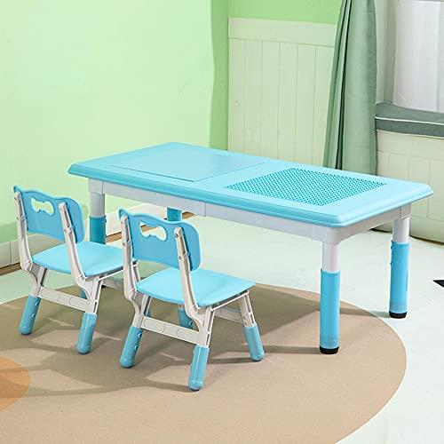Juego de mesa y silla para niños, altura ajustable, mesa y silla de estudio para niños de plástico ecológico, escritorio/mesa de juguete dos en uno, con caja de almacenamiento, carga estable /