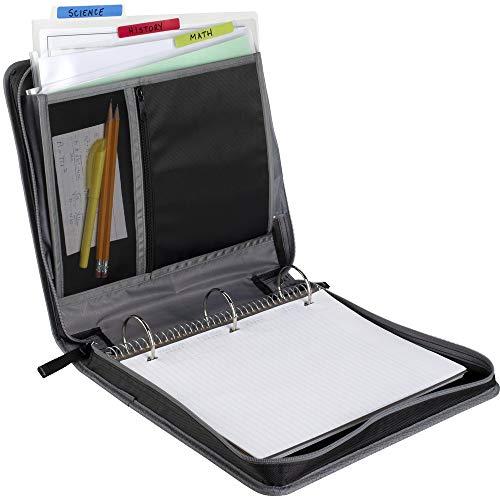 Five Star Zipper Binder, 2 Inch 3 Ring Binder, Removable File Folders, Durable, Black/Gray (29036IT8) Photo #2