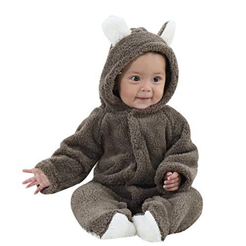 Covermason Grenouillères - Combinaisons et Barboteuses - Bébé Fille Garçon Combinaison De Neige Manteau à Capuche Hiver Combinaisons Pyjama Ensemble de Pyjama 3-12 Mois (Marron, 9Mois)