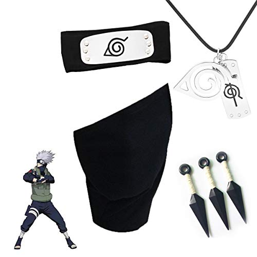 Naruto Cosplay Kakashi Headband and Face Mask, 3 Pcs Plastic Toy Kunai and Naruto Necklace, Perfect Decoration Accessories for Ninja Cosplay Activities Party or Birthday Black