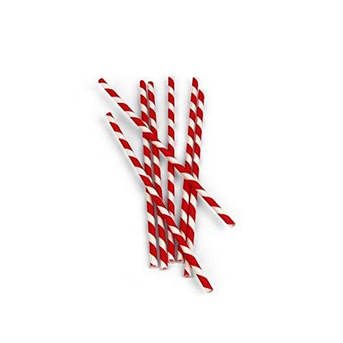 Kikkerland Popotes biodegradable de papel de rayas, rojo/blanco, Rojo/Blanco