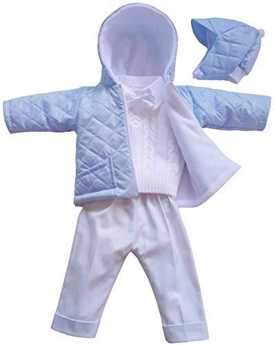 deine-Brautmode Taufanzug Festanzug Jacke Steppjacke Mütze Hose Hemd Weste Fliege Taufe Baby Anzug, Michael hellblau-weiß 68