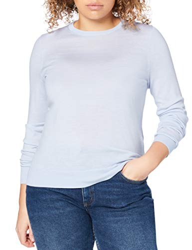 Marchio Amazon - MERAKI Pullover Lana Merino Donna Girocollo, Blu (Light Blue), 42, Label: S