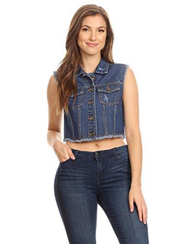 Anna-Kaci Womens Juniors Cotton Denim Indigo Sleeveless Crop Jacket Jean Vest, Indigo, Small