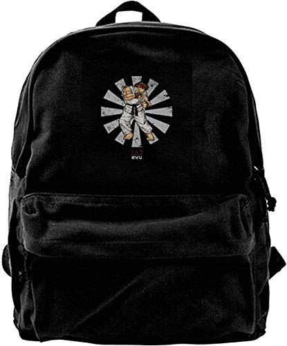 Homebe Mochila antirrobo Impermeable,Canvas Backpack Ryu Street Fighter Retro Japanese Rucksack Gym Hiking Laptop Shoulder Bag Daypack for Men Women