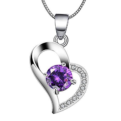 Valentinstag Geschenke, Deesos Halskette beste Geschenk für Liebhaber Geburtstag Herz Diamant Anhänger Halskette zum Valentinstag oder Muttertag, lila