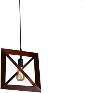 LYB LámpaColgante Lámpara de Araña Pendiente de la luz Creativa Decoración Triángulo Luces Pendientes de Madera de alumbrado de suspensión Colgante de luz Ajustable Inicio (Color : B)