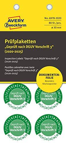 AVERY Zweckform 6978-2020 fälschungssichere Prüfplaketten 2020-2025 (stark selbstklebend, Kleinformat, Ø 30 mm, 80 Aufkleber auf 10 Blatt, handbeschriftbare Klebefolie zur Inventarkennzeichnung) grün