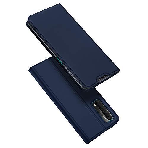 DUX DUCIS Hülle für Huawei P smart 2021, Leder Flip Handyhülle Schutzhülle Tasche Hülle mit [Kartenfach] [Standfunktion] [Magnetverschluss] für Huawei P smart 2021 (Blau)