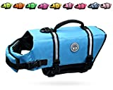 VIVAGLORY Ripstop Dog Life Vest, Reflective & Adjustable Pet Life Jacket with Enhanced Buoyancy & Rescue Handle, Blue, Extra Small