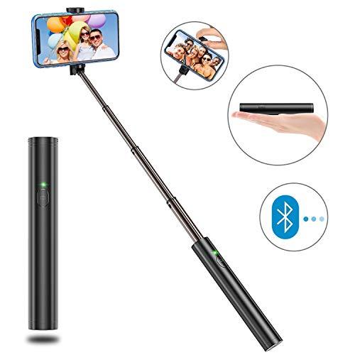 Bovon Selfie Stick Bluetooth, aluminio ligero, todo en uno, extensible selfie Sticks diseño compacto para iPhone XS/XS Max/XR/X/8/8 Plus/7/6S/6/5, Galaxy S9/8/7/6/Note, Huawei, Nubia, más (Negro)