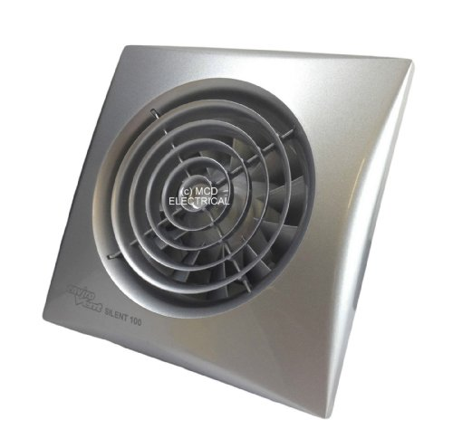Envirovent SIL100SSILVER 'Silent' Extractor Fan Matt Chrome /Silver Finish (NO timer)