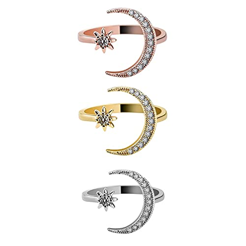 Alloy Plating 18k European and American Crescent Crescent New Creative Simple Engagement Accessories Diamond Open Ring(3 pac)