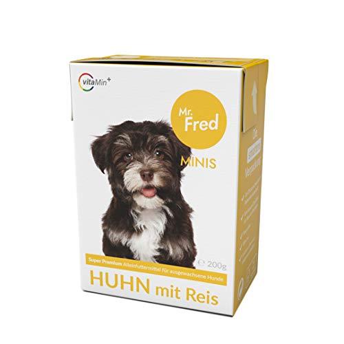 Mr. Fred- Hundefutter nass   Super Premium Nassfutter für Hunde   10 x 200g   Lebensmittelqualität   Huhn mit Reis   wiederverschließbar