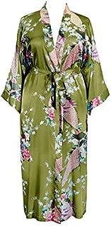 Applesauce 838 - Plus Size Women's Kimono Long Robe - Floral (US One-Size fits Most 1X 2X 3X) (Peridot Green)