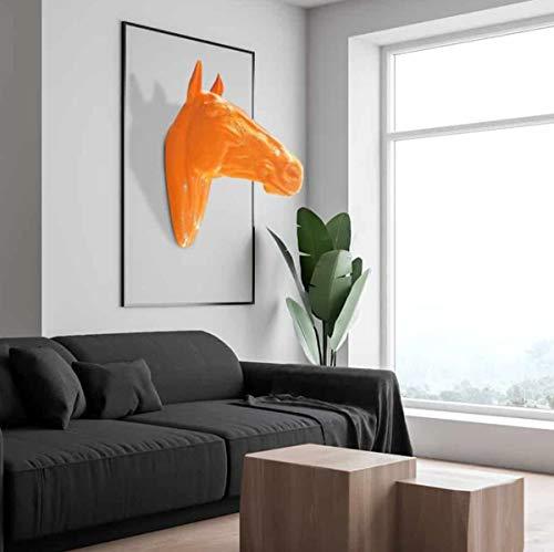 Casa Padrino Escultura de decoración de Pared de Lujo Cabeza de Caballo Naranja 22 x 57 x A. 76 cm - Figura Decorativa Resistente a la Intemperie - Decoración Salón Jardín Terraza