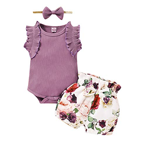 Camidy 3pcs/Set Baby Girl Sleeveless Top Floral Shorts Cute Headband Toddler Clothes Suit Romper Bodysuit