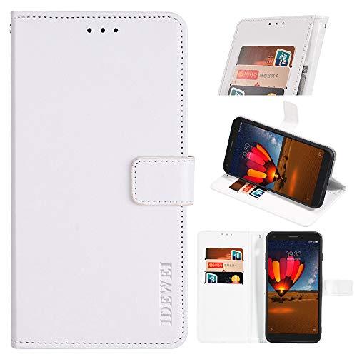 BellaHülle TCL Plex Handyhülle Hülle Leder Flip Hülle [Kartenfach] [Standfunktion] [Magnetschnalle] Wallet Cover für TCL Plex Smartphone(Weiß)