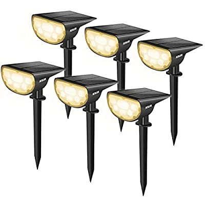 JESLED 14 LED Landscape Spotlights, Outdoor Solar Powered Spot Lights, IP67 Waterproof, Bright White 2-in-1 Wireless Security Wall Light for Yard Garden Path Driveway Porch Walkway Pool Patio 6-Pack