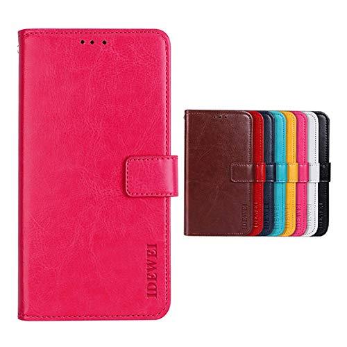 SHIEID Hülle für TP-LINK Neffos C5 Plus Hülle Brieftasche Handyhülle Tasche Leder Flip Case Brieftasche Etui Schutzhülle für TP-LINK Neffos C5 Plus(Rose rot)