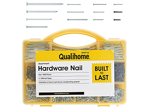Top Quality Nail Assortment Kit – Over a 1800 Multipurpose Hardware Nails - 11 Different Sizes – Non Bendable & Sturdy - Compact Organized Box