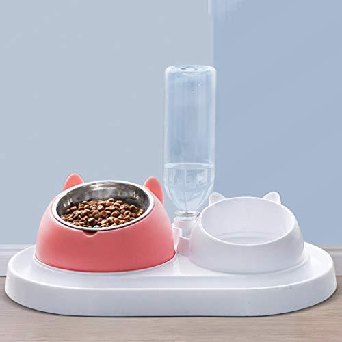 TJLSS Dispensador de contenedores de alimentación de Alimentos para Mascotas, Mascotas Anti-volcamiento de tazón de arroz Suministros