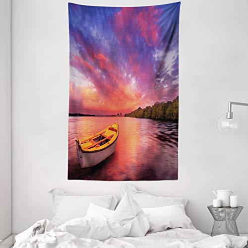 ABAKUHAUS Tramonto Tappeto da Parete e Copriletto, Costa del Mare con Una Barca a Remi, Colori Chiari Non sbiadiscono, 140 x 230 cm, Rosa e Viola