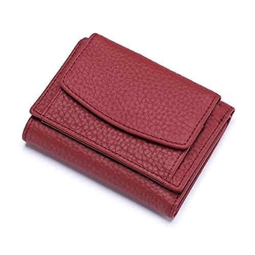 FANDARE Cartera Mujer Pequeña RFID Billetera Bolsos para Mujer Cuero Carteras Gran Capacidad Wallet Vino Rojo