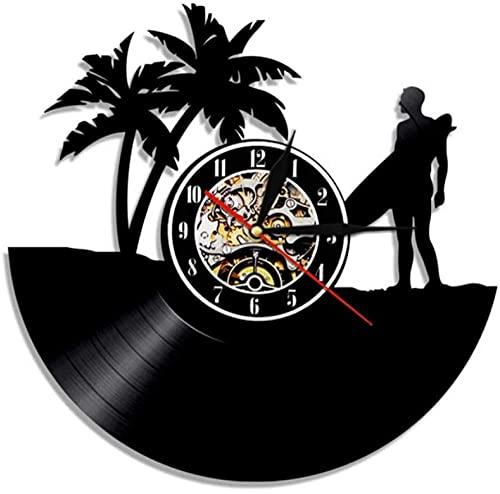 Wwbqcl Hawaii Reloj de Pared Personalizado Surf Vinilo Reloj de Pared Tabla de Surf Reloj Playa Personalizado Retro Surf Reloj Ideas de Regalo
