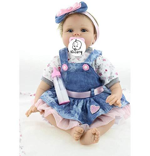 Nicery Reborn Baby Doll Puppe Weich Simulation Silikon Vinyl 22 Zoll 55 cm magnetisch Mund lebensecht lebhaft für 3 Jahre alt 3+ Boy Girl Mädchen Spielzeug Blaue Blumen Herz