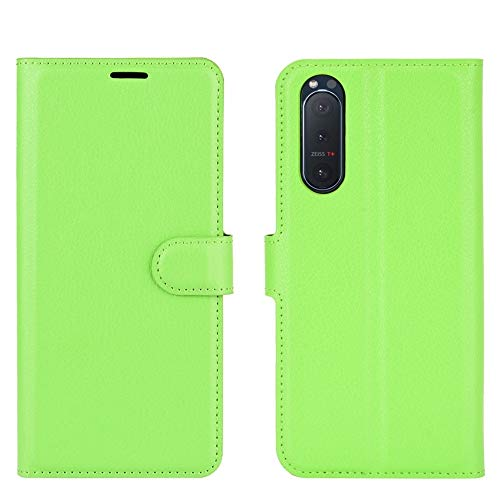 PROTECTIVECOVER+ / Compatible with for SONY Xperia 5 II Litchi Texture Horizontale Flip Beschermhoes Met Houder & Card Slots & Portemonnee, Fashion Protection Telefoonhoesje Hoesje (Color : Green)