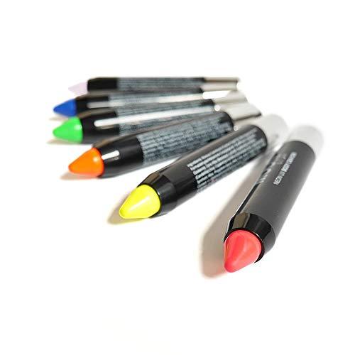Neon UV Bodypainting Stifte - 6 Farben - Schwarzlicht Leuchteffekt - Für Gesicht & Körper