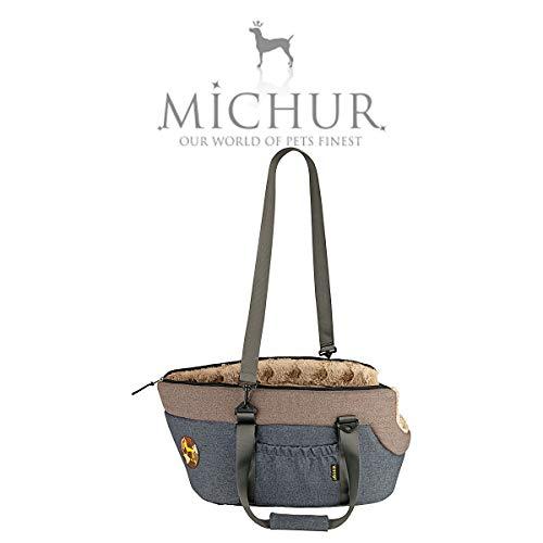 Michur Mona hundetransportbox, hundetragetasche, Hunde Transport Auto, katzentransporttasche, hundetransporttasche, Handtasche, Tragetasche, anthrazit, grau