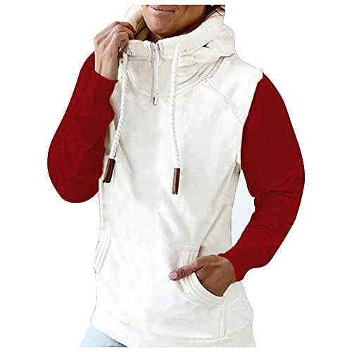 Berimaterry sudaderas de mujer cuello alto moda hoodies con estamapdo de rayas camisetas manga larga Jerséis baratos de mujer ropa otoño invierno top sweatershirt chaqueta jersey con bolsillo baratos