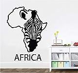Vinilo de Arte Etiqueta de La Pared Para El Salón de Cebra África Mapa Removible...