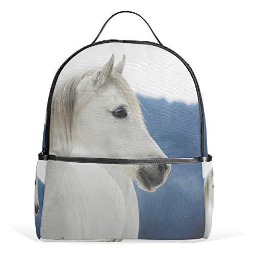 Cpyang, zaino per la scuola con animali di cavalli, borsa a tracolla, stile casual, da viaggio, per ragazzi, donne e uomini