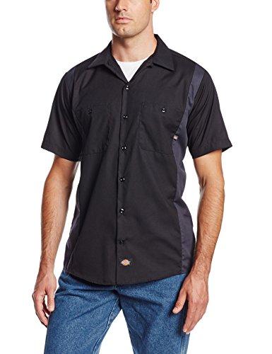 Dickies Occupational Workwear Ls524bkch Polyester/Coton pour homme à manches courtes industriel Bloc de couleur Chemise, Noir/charbon de bois foncé, X