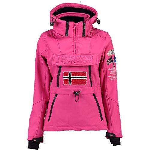 Geographical Norway TOPALE LADY - Chaqueta Softshell Impermeable Para Mujer - Chaqueta Con Capucha - Chaqueta De Invierno De Viento - Actividades Aire Libre Senderismo PINK FLASH L - TALLA 3
