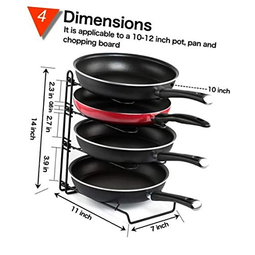 Height Adjustable Pot Pan and Lid Organizer Rack, GUSGU Detachable Cookware Holders with 4 Dividers for Kitchen Cabinet Countertop and Pantry Storage