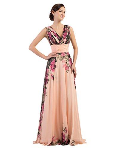GK Prom Dress Grace Karin Dames avondjurken lang chiffon bloemenpatroon bruidsmeisjesjurk bruiloftsjurk maat 32-54