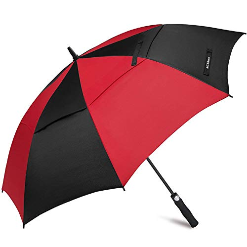 ACEIken Golf Paraplu Winddicht Grote 62 Inch, Dubbele luifel Geventileerd, Automatisch Open, Extra Grote Oversized, Zonbescherming Ultra Regen & Wind Resistant Stick Paraplu's, Rood/Zwart