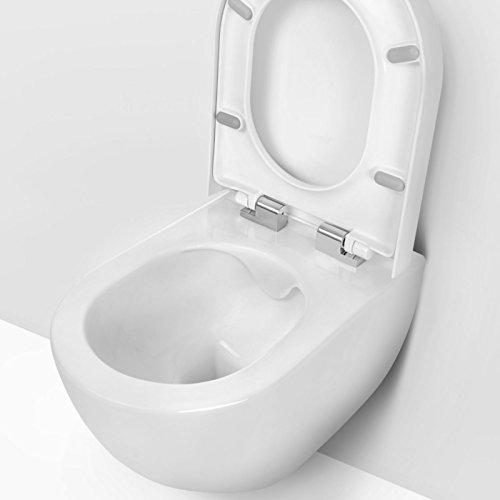 Design Wand-Hänge-WC Toilettenschüssel Tiefspüler inkl. WC Sitz aus Duroplast mit Metallscharnieren Absenkautomatik Spülrandlos Rimfree Nanobeschichtung Randlos KB-DE6ZPW - 3