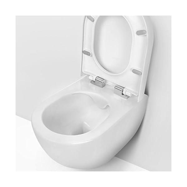 CREAVIT Inodoro suspendido de cerámica sanitaria con asiento termoestable con función de cierre suave FE322.