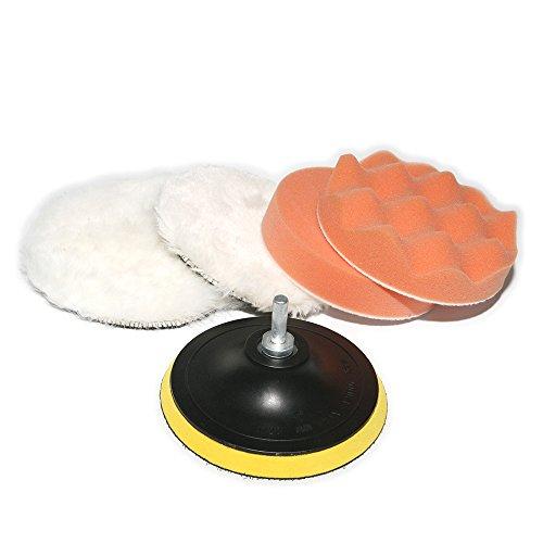 ATOPLEE 6pcs 4 « » de diamètre élevé brut voiture polissage Tampon Clean tampons fartage Set + 8 mm Shank Drill Adaptateur/Mandrin