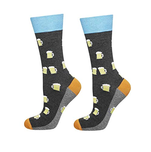soxo Herren Bunte Hohe Bier Socken | Größe 40 – 45 | Witzige Motivsocken aus Baumwolle | Lustige Geschenk für Frauen & Männer