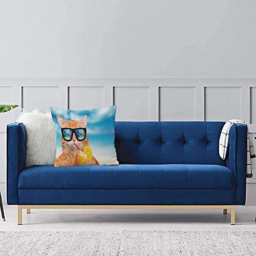 Set de 1 x Funda de Almohada 45x45 cm,Divertido, Gato con Gafas de Sol Relajante cóctel en el Fondo del mar Imagen de Gatito de Verano,Fundas de Cojines de Calidad con una Suavidad Incomparable